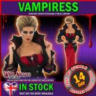 Halloween Ladies Deluxe Vampiress Fancy Dress Costume Small 8-10